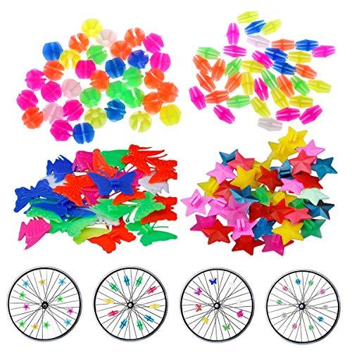 JAHEMU Kinderfahrrad Zubehör Speichenclips Speichenklicker Fahrrad Speichenperlen Räder perlen Fahrrad Dekor für Mädchen Kinder 133 Stück