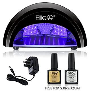 LED Nail Lamp Kit, Elite99 12W Black Professional Nail Dryer Machine Fast Curing LED Gel with 4 Timers Presets (30s, 60s, 90s, 30min) , UK PLUG, + FREE GEL NAIL POLISH TOP BASE COAT SET, Safer for Nails and Skin Than Traditional UV Nail Lamps