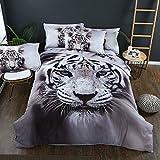 Duvet Bettbezug & Kissenbezug 3D Animal Tiger Design-Muster Leichtes Mikrofaser-Bettwäsche-Set (Tiger, 150x200)