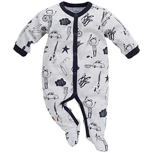 Pinokio - Xavier - Baby Boys Schlafanzug 100% Baumwolle, Grau/schwarz mit lustigen Motiven - Strampelanzug - Langärmlig mit Druckknöpfen, Overall (56)