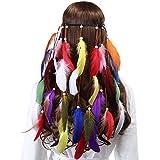 AWAYTR Bohémien Paon Hippie Bandeaux Plume - Femmes Filles Flocage Perles Tisser Bandeaux Indien Originaire de Corde à Cheveux Headpiece (Plume Colorée 02)