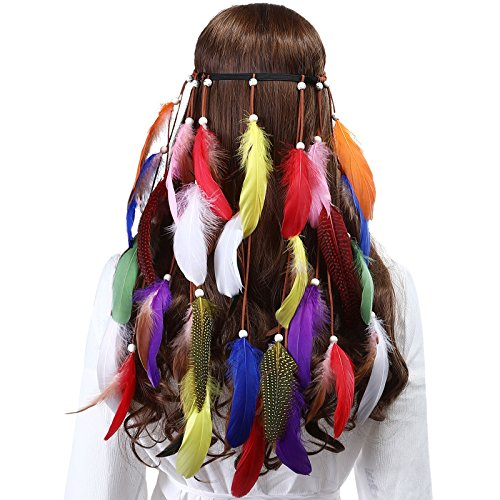 AWAYTR Damen Hippie Boho Indianer Stirnband Feder Stirnbänder für Abendkleider Halloween Karneval (Mehrfarbig-2) (Für Einzigartige Halloween-kostüme Zwei)