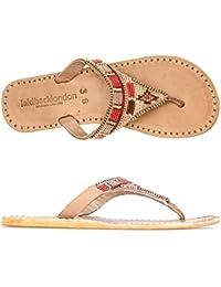 Laidback London Womens Sandal Craine Midbrown Flat Rubber Silver eOTNc73