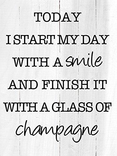 Artland Wand-Bild geweißtes Holz-Bild digital bedruckt mit Motiv Jule Lächeln und Champagner Statement Bilder Sprüche & Texte Graphische Kunst Schwarz 80 x 60 x 4,2 cm B3JZ