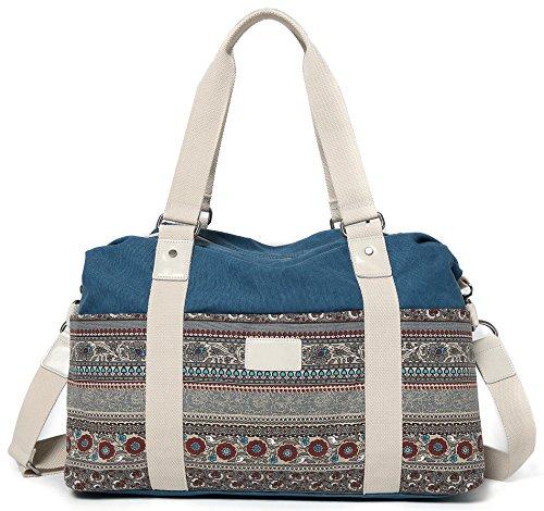 DCCN Groß Boho Tasche Canvas Handtasche Damen Shopper Tasche für Schule Reisen Arbeit 44cm x 30cm x 14cm