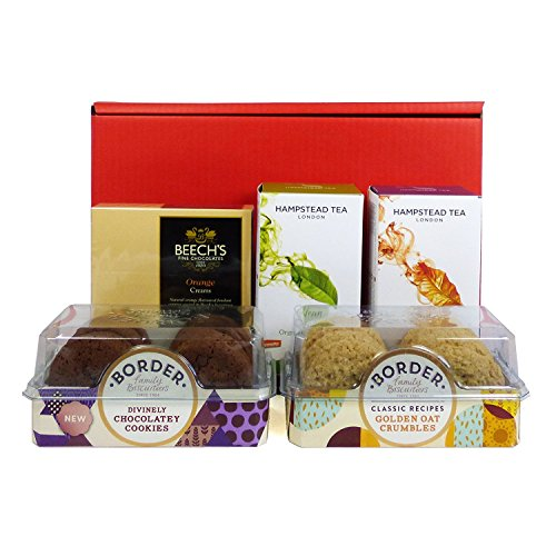 Deluxe Tea & Biscuits Hamper Presented in a Red Gift Box - Gift Ideas for Valentines, Mothers Day, Birthday, Anniversary, Business and Corporate