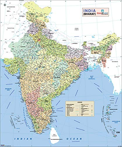 """Maps Of India India Wall Map for Hanging (54""""W X 65""""H) - 2019 Edition"""