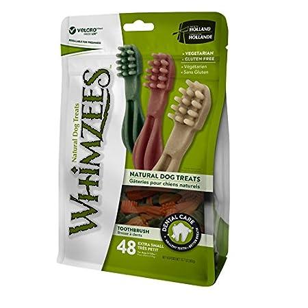 WHIMZEES Natürliche Getreidefreie Zahnpflegesnacks, Kaustangen für Hunde, Zahnbürste XS, 48 stück (48 x7,5 g= 360g)