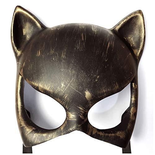 Halloween Steampunk-Dämon Katze Maske, Mysteriös Seltsam Ferien Requisiten Karneval Weihnachten Lagerfeuer Spiel Geschenk,Gold -