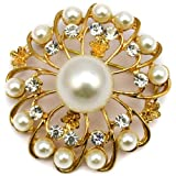 Elixir77UK Gold Colour Flower Gift Pin Brooch Decoration With Plain Crystals and Faux Pearls UK SELLER