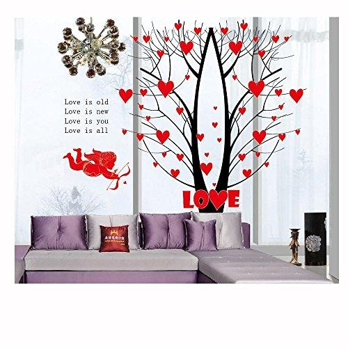 Hykis - Amor-Pfeil-Liebes-Baum-Wand-Aufkleber-Kunst-Abziehbilder Wand-DIY Tapete f¨¹r Zimmer Aufkleber 60 * 90cm