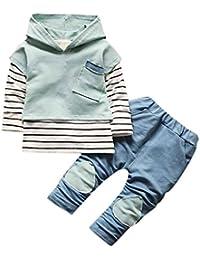 2pcs Tops + Pantaloni , feiXIANG Bambino bambini neonato abiti con cappuccio Stripe T-Shirt Top + pantaloni vestiti set