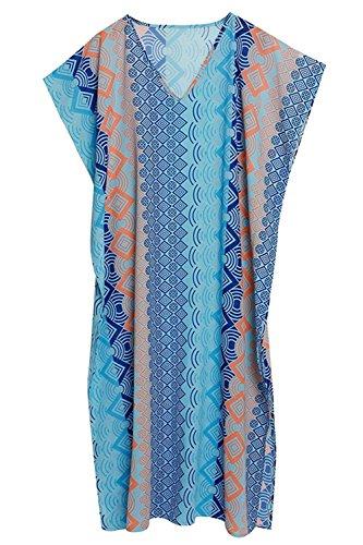 Esenfa Kaftan für Damen, lang, Chiffon, Strandtuch, Kleid, Badekleidung Gr. onesize, blau (Burnout-schal)