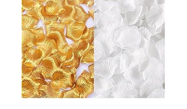 Zeagro Lot de 1000 p/étales de Rose en Soie dor/ée pour d/écoration de f/ête de Mariage