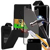 i-tronixs Oukitel Mix 2Case Schutzhülle Tasche mit Carbon-Effekt, mit verstellbarer Clamp Flip Case Cover Hülle mit Kredit-/Oukitel Mix von 2Hülle mit Displayschutzfolie aus gehärtetem Glas OUKITEL MIX 2 Clip on Flips+ GLASS 5.99 inch (Black)