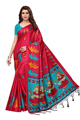 Krishna Emporia Women's Party wear Silk Saree with Blouse Piece (KE Saree 237, Free Size, Multi Color) (Pink)