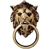 #2: Colletible India Brass Lion Mouth Door Knocker Antique Lion Mouth Holding Ring Door Handle