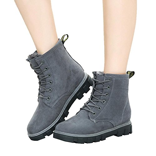 women ankle short boots flat heel winter leather warm casual comfort shoelace snow cotton shoes . gray . 40 (Fit T-shirt Womens Sign)