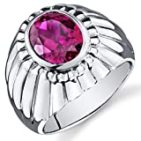 Revoni Mens Bezel Set 4.50 Carats Oval Cut Ruby Ring In Sterling Silver With Rhodium Finish
