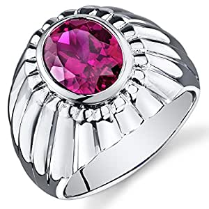 Revoni Mens Bezel Set 4.50 Carats Oval Cut Ruby Ring In Sterling Silver With Rhodium Finish Size P,
