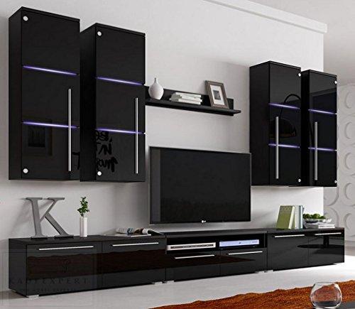 Wohnwand B Schwarz Hochglanz✔ Glastüren ✔ Edel ✔ LED Beleuchtung ✔ Modern ✔ Design