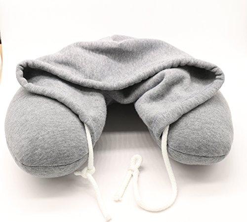 U-förmiges Nackenkissen aus Memory-Schaumstoff mit abnehmbarer Kapuze und Kordelzug inkl. Aufbewahrungstasche, ideales Reiseutensil und tolle Geschenkidee für Jugendliche