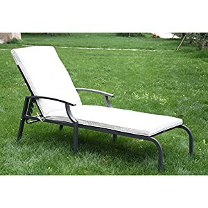 Outsunny Outdoor Sun Lounger Bed Adjustable Recliner Chair Chaise Garden Furniture Patio Pool With Cushion from Sold by MHSTAR