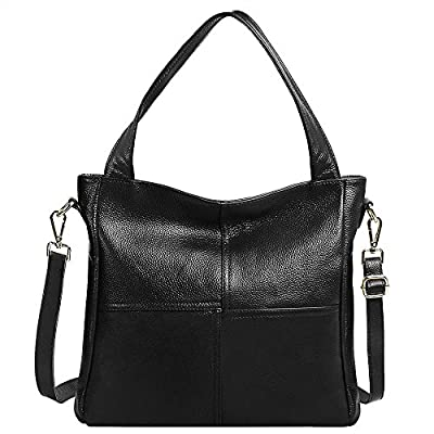 S-ZONE Women's Ladies' Cowhide Genuine Soft Leather Tote Fashion Classic Lightweight Bonzer Shopping Purse Handbag Crossbody Shoulder Bag