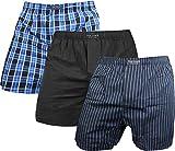 3 x Herren Web Boxershorts aus reiner Baumwolle Farbe Blau