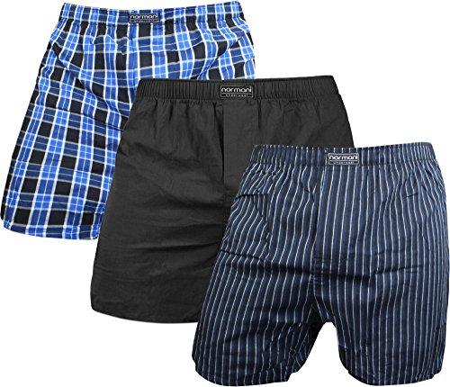 3 x Herren Web Boxershorts aus reiner Baumwolle Farbe Blau/Schwarz Größe L