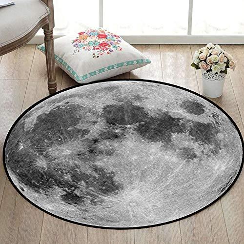 CHENG Runde Teppich Mond Oberfläche Zeitgenössische 3D Druck Weiches Wohnzimmer Esszimmer Teppich für Kinderzimmer,diameter200cm -