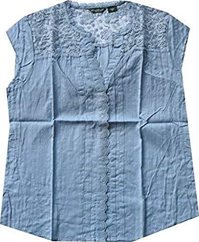Bluse mit Spitze von Eddie Bauer - Hellblau Gr. XL -