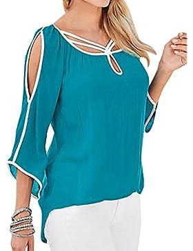 Mujeres Sin Tirantes De La Camiseta De Manga Larga Ocasional Del Estiramiento De La Tops Azul Verde XL