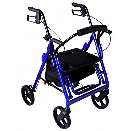 Seat & Roll 2 Rollator | 2 in 1: Rollator oder Transportstuhl | mit 4 Rädern
