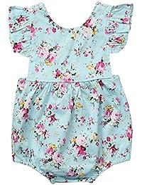 78b6684cc ZXCVBN Floral recién Nacido de la niña del Mameluco de Volantes de Manga  bebé Bebes Princesa niñas Traje de Mono…