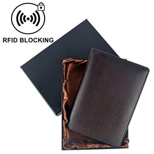 Nergivep Koruma-Portafoglio da viaggio per passaporto in pelle a portafoglio con scomparti per proteggere il passaporto 8 carte di credito, per elettronica di documenti di tasca, marrone (Marrone) - PH-03