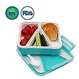 OldPAPA Kids Kinder Lunchbox/Bento Box/Brotdose mit 3 Unterteilungen, auslaufsicher –mikrowellengeeignet – Inklusive Besteck und Trennelementen