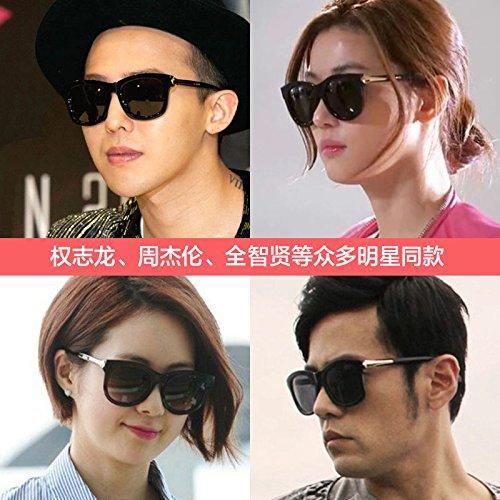 BM koreanische weibliche persönlichkeit Brille Sonnenbrille große Box - Star männliche runde Augen Trendsetter Retro - Sonnenbrille,vereiste schwarz - grau (high - Definition - polarisierende)