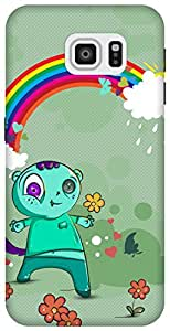 The Racoon Lean printed designer hard back mobile phone case cover for Samsung Galaxy S6. (Happy Mons)