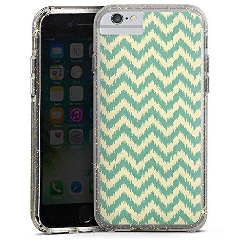 Apple iPhone 7 Bumper Hülle Bumper Case Glitzer Hülle Zickzack Pattern Muster Bumper Case Glitzer gold