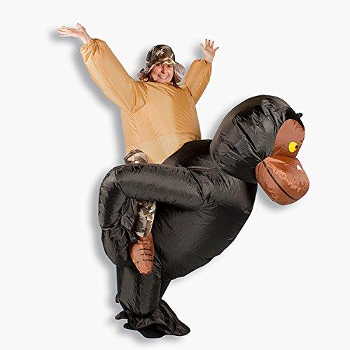 GARDENho.me Aufblasbares Kostüm Gorilla Mokombe Affenkostüm Karneval Fasching