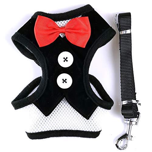 JIMITO Kleine Hochzeitsanzüge, Party-Kostüme mit Fliege, Haustierweste, Hundeleine, Geschirr für kleine Hunde (Geschirr Hunde Kostüm)