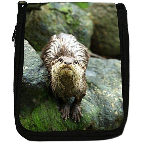 Lontra Animal-Borsa a tracolla in tela, colore: nero, taglia: M Otter staring From Rocks