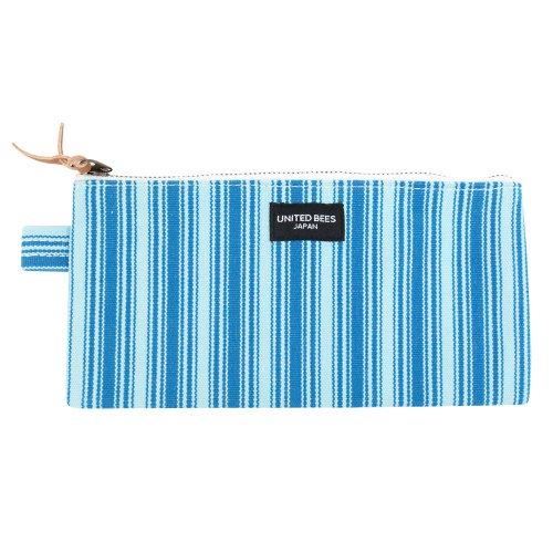 united-bees-kurashiki-canvas-flat-pen-case-striped-sky-blue-ubs-sk-06