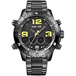 Alienwork DualTime Analogue-Digital Watch Chronograph LCD Wristwatch Multi-function XXL Oversized Metal black black OS.WH-3405-B-6