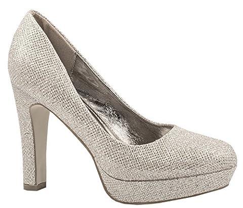Elara Damen Plateaupumps   Party Hochzeit Stilettos   Glitzer High Heels Schuhe Größe 38, Farbe (High Heels Pumps)