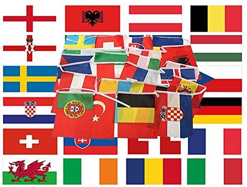 Euro 2016 Drapeau et fanions x 91 – Grand – Lot de 5 Drapeaux tous les 24 Nations unies et x 4 12 m Longueurs de Banderole en tissu