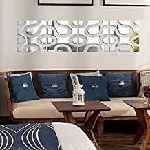 Anself DIY 3D Set de 4Pcs Pegatinas de pared del efecto espejo de acrílico extraíble moderna tatuajes mural de arte para la decoración del hogar 30 * 120cm