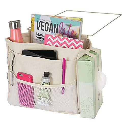 Mdesign portaoggetti da letto appendibile - spazioso organizer in cotone - con 3 tasche - tasche portaoggetti laterali per bottiglie d'acqua, telecomando, tablet, orologio & co. - beige
