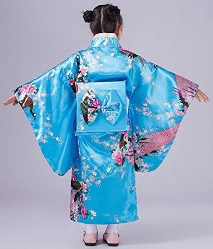 Yue Lian Mädchen Blumen&Pfau Kimono mit Obi-Gürtel Cosplay Yukata Japanisch (Höhe: 110-120cm, Blau) - 2